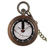 WM Regalo del reloj de bolsillo único de madera de ébano el reloj del cuarzo protección del medio ambiente ecología natural de las señoras de los hombres de madera Reloj de bolsillo-8.24 ( Color : 1 )
