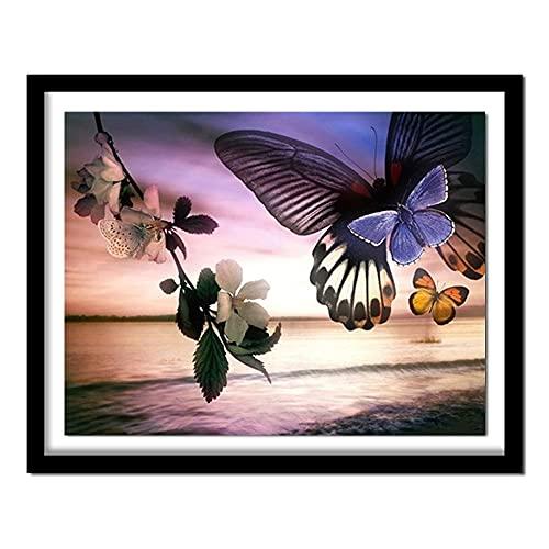 ZXXGA DIY 5D Diamante Pintura Mariposa Flor Punto de Cruz Cristal Rhinestone Bordado Imagen Arte artesanía hogar decoración de la Pared Regalo Diamante Redondo 40x30cm
