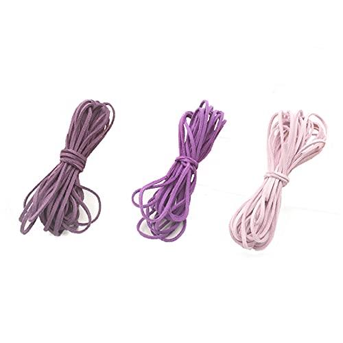 3 Piezas Cordón de ante, Cordon Cuero para Colgante, For Bracelet Necklace Key Rings Jewellery Gift Making, DIY Crafts(5m x 3mm)