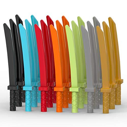 LEGO Ninjago Zubehör Set mit 21 Schwertern / Katanas in 7 Farben