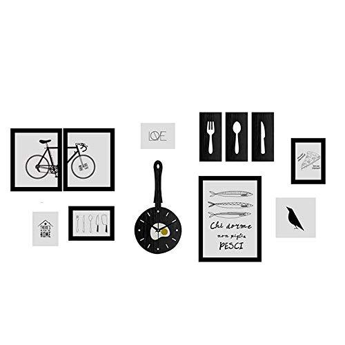 CWC 8-teiliges Fotowanddekoration mit Uhren Einfache moderne Wohnzimmer Esszimmer Kreative Foto-Rahmen-hängende Wand Kombination Foto Wall