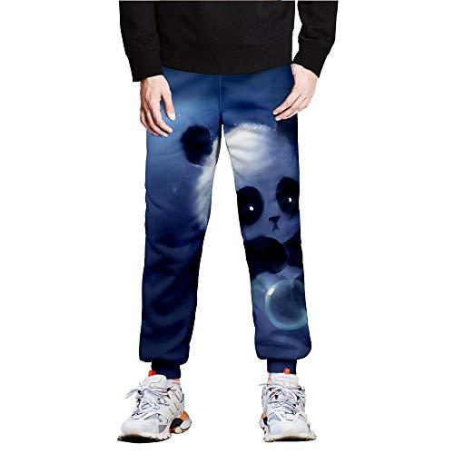 Surwin Pantalones de Deporte Jogger Hombre Mujer Pantalones de Chandal con Cordón y Bolsillo, Estampado Panda Super Lindo 3D Unisex Casuales Streetwear de Ropa (Burbuja,XL)