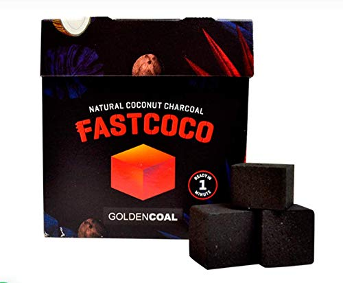 FASTCOCO - Carbón natural de coco para shisha de encendido rápido.