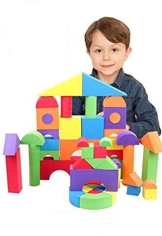 B.H. Select やわらか つみき ブロック EVA素材 知育玩具 安全な おもちゃ スマイル おかたづけ袋付き (JOY@SoftBlock50) BH100-2