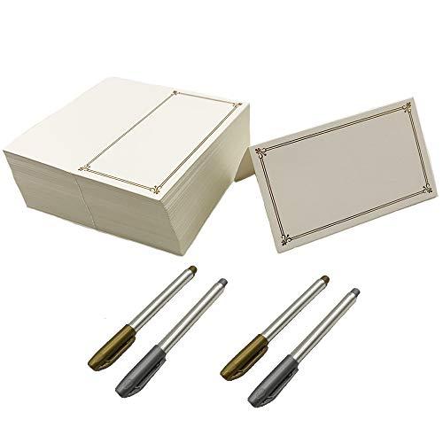 Aisamco 100 Stks Plaats Kaarten met Gouden Folie Border Textuur Tafel Instelling Naam Plaats Kaarten 2