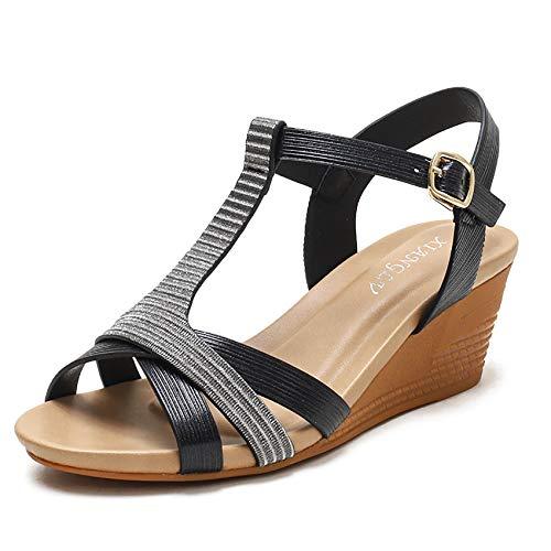 Shhyy Sandalias con Punta Abierta Mujer-Sandalia con Pulsera Mujer-Bohemian Sandals-Roman Sandals,Negro,38