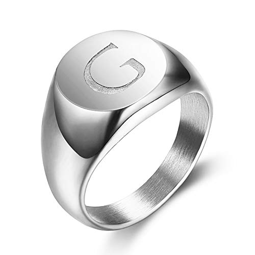 BOBIJOO JEWELRY - Signet Ring Man Initial Engraved on The Choice Stainless Steel Silver-13mm - Z+1 (13 US), G - 316 Steel