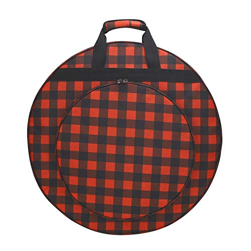 """22.8"""" Cymbal Bag, Drumstick Carrying Case, Padded Cymbal Storage Bag With 3 Inner Compartments, Heavy Duty Oxford Fabric, 15.7"""" Outer Pocket, Carry Handles and Shoulder Straps Design"""