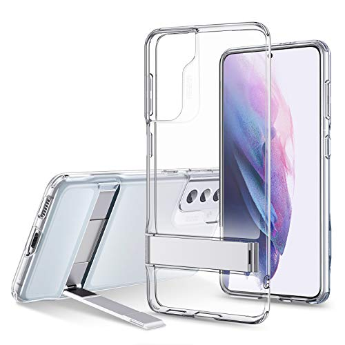 ESR Metal Kickstand Case Compatible with Samsung Galaxy S21 Plus (6.7-Inch) (2021) [Reinforced Drop Protection] [Portrait and Landscape Stand], Clear