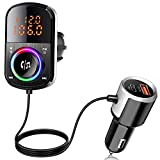 Transmisor FM Bluetooth V5.0, [9 Modos de Luz] Bluetooth Coche 2 USB PD18W QC3.0 Carga Rápida Manos Libres Coche con Pantalla LED Doble, Support 64 G TF Card, Voice Assistant, Cable de 1.1M
