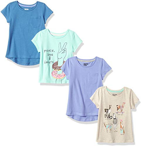 Spotted Zebra Girls' Kids Short-Sleeve T-Shirts, 4-Pack Llama Drama, Small
