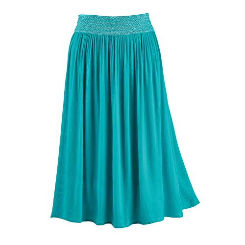 Women's Stylish Flowing Gauze Skirt with Embroidered Elastic Waistband - Stylish Seasonal Skirt for...