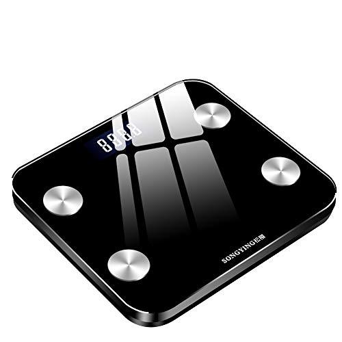 Hogar Inteligente Cuerpo Escala de Grasa Suelo Scientific Smart Electronic Balance Scale Pespering Scales Balanzas Electrónicas (Color : Black)