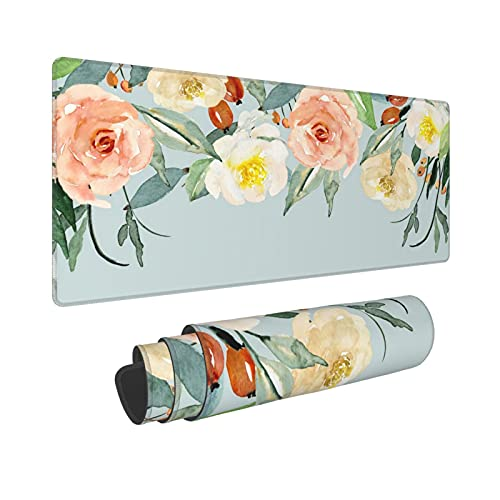 Watercolor Peony Flower Extended Mouse Pad 31.5x11.8 Inch XL Colorful Floral Non-Slip Rubber Base Large Gaming Mousepad Stitched Edges Waterproof Keyboard Mouse Mat Desk Pad for Office Home