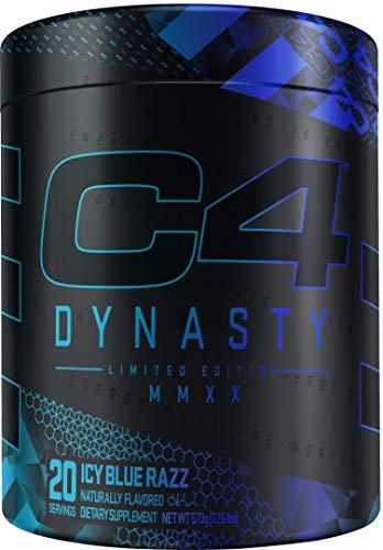 C4 Dynasty MMXX Pre Workout Powder ICY Blue Razz | Preworkout Energy Supplement for Men & Women | 350mg Caffeine + 6.4g Beta Alanine | 20 Servings