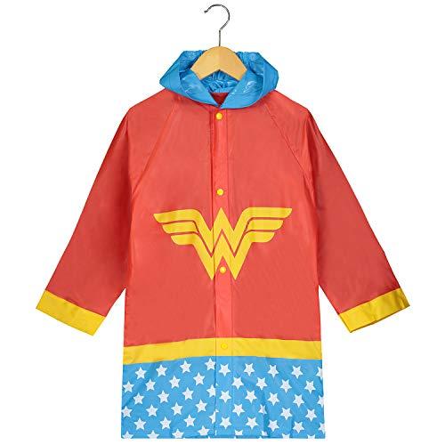 DC Comics Girls Wonder Woman Printed Waterproof Hooded Rain Slicker - Size 6-7