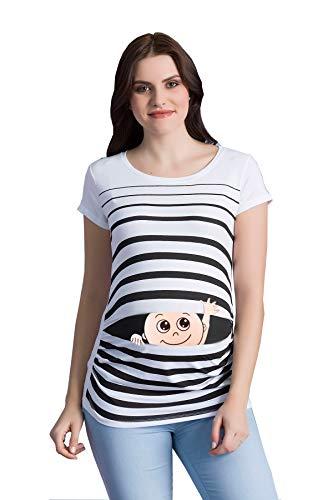 M.M.C. Winke Winke Baby - Lustige witzige süße Umstandsmode gestreiftes Umstandsshirt mit Motiv für die Schwangerschaft Schwangerschaftsshirt, Kurzarm (Weiß, Small)
