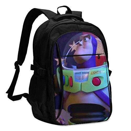 Unisexo Mochila,Toy Story Buzz Lightyear America Flag Mochila para Computadora Portátil con Puerto De Carga USB Útiles Bolsos De Hombro para Adultos para Viajes Al Aire Libre,46x34x21cm