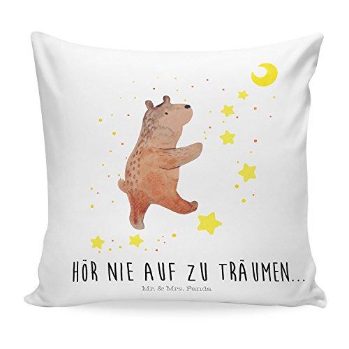 Mr. & Mrs. Panda Sofakissen, Dekokissen, 40x40 Kissen Bär Träume mit Spruch - Farbe Weiß