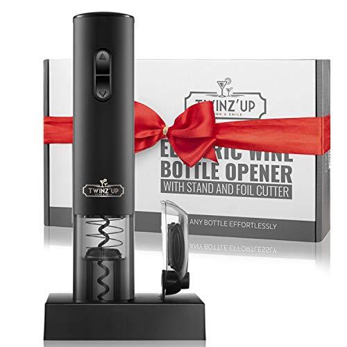Sacacorchos Eléctrico Inalámbrico de Twinz'up (Negro) - Estuche Premium con Cortador de Cápsulas y Base de Recarga - Batería de Segunda Generación - El Regalo Ideal para los Amantes del Vino