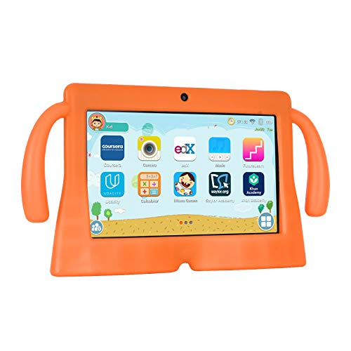 Xgody 7 Inch HD Android Kids Tablet for Kids Quad Core Android 8.1 GMS 16GB Parental Control Touch Screen with WiFi Pre-Loaded 3D Game Dual Camera Blue (Orange1)
