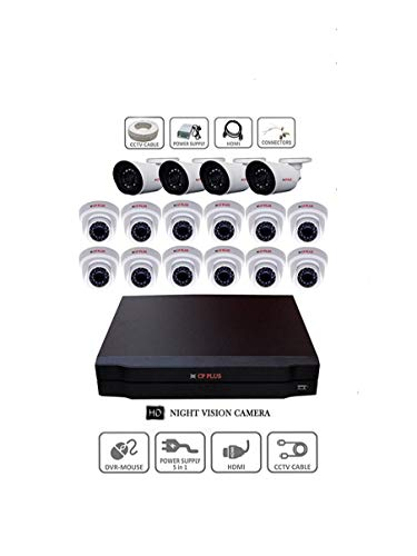 CP Plus HD CCTV Camera Kit -12 -2.4 MP Dome, 4 -2.4 MP Bullet Camera and 16 Channel HD DVR kit with All Accessories