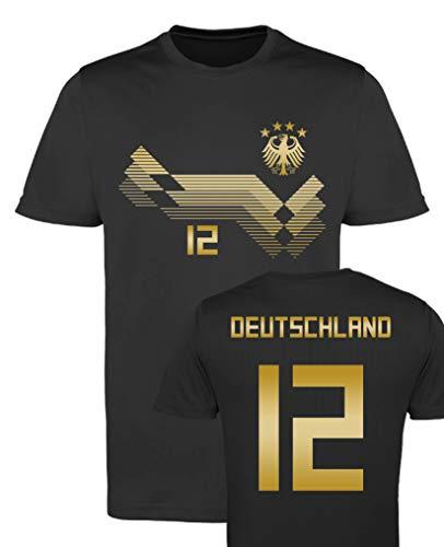 Comedy Shirts EM WM - Trikot - Deutschland 12 - Jungen Trikot - Schwarz/Gold Gr. 122-128
