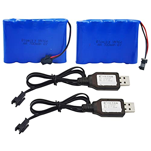 Blomiky 2 Pack 6.0V 700mAh Ni-CD AA Rechargeable Battery Pack SM2P Plug and 2 USB Charger Cable Fit for RC Truck 11.5Inch Amphibious Stunt RC Cars Vehicles 6V 700mAH and USB 2
