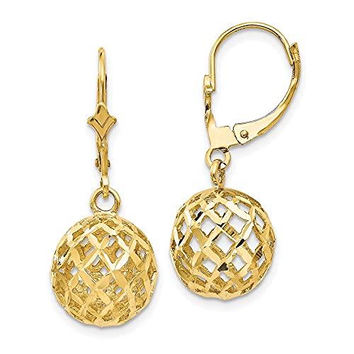Pendientes colgantes de oro amarillo de 14 quilates con diseño de bola de malla con diamante para mujer