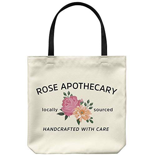 Rose Apothecary Tote Bag, Locally Sourced Canvas Bag, Handcrafted With Care Reusable Grocery Shopping Bag Gift