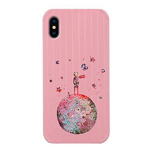Alsoar Compatible para iPhone XR Funda Borde Suave Moda Duro Protección Carcasa 3D Tridimensional Raya Maleta Linda Patrón Anti-Arañazos Teléfono Caso (Rosa,Principito)