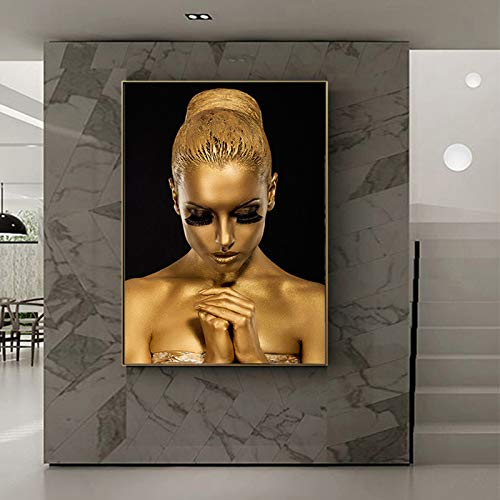 Black and gold beautiful lips body art African art woman oil painting on canvas posters and prints on the wall art pictures for the living room