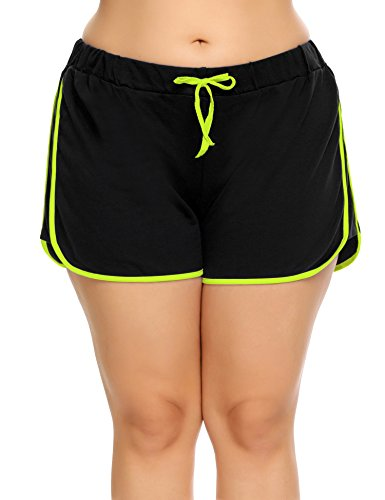 IN'VOLAND Women Dolphin Shorts Plus Size Running Short for Workout Gym Sports Active Yoga Green Yellow