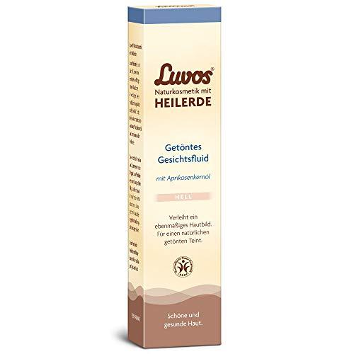 Luvos Heilerde Getöntes Gesichtsfluid Hell, für einen ebenmäßig, strahlenden Teint, 1 X 50 ml - mit Aprikosenkernöl, Naturkosmetik ohne Mikroplastik, vegan