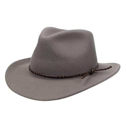 Jack&Arrow Cowboy Hat Men Wool Felt Grey Western Outback Gambler Wide Brim Leather Strap Adjustable Sizes-M
