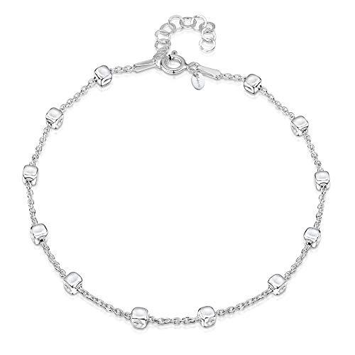 Amberta 925 Sterlingsilber Fußspange – 1,7 mm Erbskette mit Kügelchen (3,2 mm) Fußkettchen Armband – 22 bis 25,5 cm – Flexibel Verstellbar