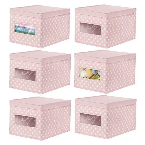 mDesign 6er-Set Aufbewahrungsbox aus Stoff – stapelbare Stoffbox zur Ablage im Kinderzimmer und als Schrankbox – Gepunktete Aufbewahrungskiste mit Deckel und Sichtfenster – Hellrosa und weiß