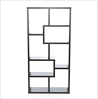 K&A Company Modern, 70-inch, High, Display, Cabinet, Wood, Chinese, Bookcase, Black, Shelf, Light, Storage, Cs1186 Dark, Brown, Cappuccino, Wood, Finish