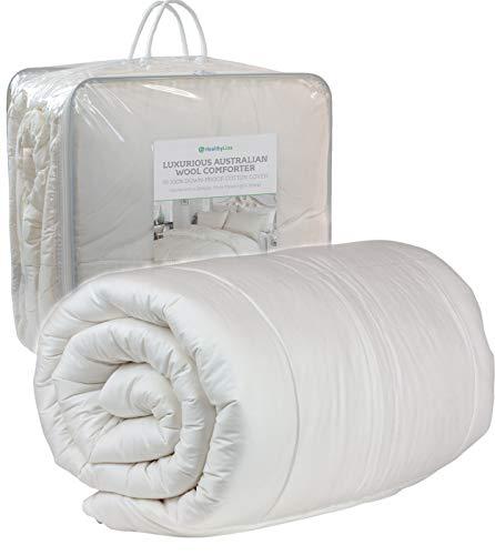 HealthyLine Luxury Australian Wool Comforter - 450 GSM - White Blanket - Cotton Shell 300 TC - Full Size / 89' x 67'