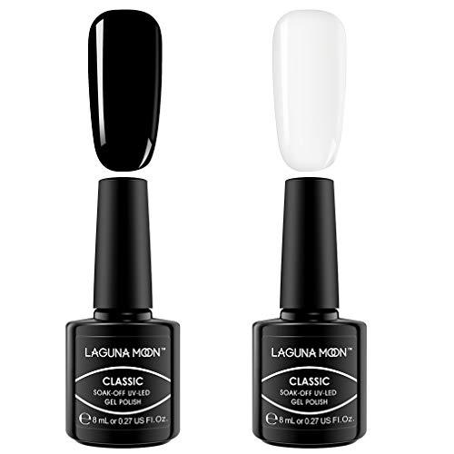 6Pcs Gel Nail Polish (2 Pcs Black White Color)