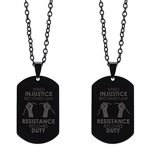 KESYOO Eu Não Posso Respirar Vidas Negras Importam Tag de Cachorro de Aço Inoxidável Colar de Pingente Justiça Liberdade Paz Propagação Consciência 2Pcs Estilo 1