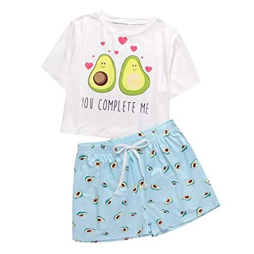 Schlafanzug Damen Sommer, Teenager Mädchen Süß Avocado Katze Kuh Pyjama Beste...