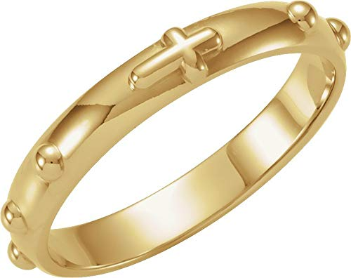 14K Yellow Gold Rosary Ring - Size 8