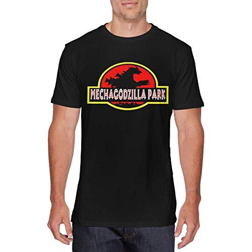 SOTTK Camisetas y Tops Hombre Polos y Camisas, Mens Particular Mechagodzilla-Park-Jurassic-Park-Logo T-Shirts Black