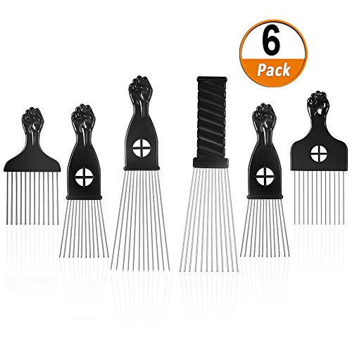 Afro Pick 6 Pack Metal African American Afro Hair Comb Hairdressing Styling Tool Hair Pick with Black Fist