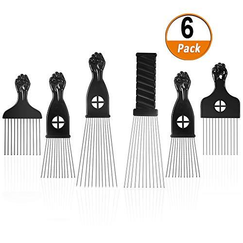 Heqishun Afro Kamm 6 Stück Afro Pick Afrokamm mit Griff Frisur Styling Tool für Dichtes Lockiges und Langes Haar