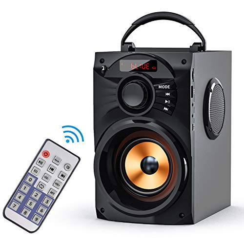 EIFER Portable Bluetooth Speakers Subwoofer Heavy Bass Wireless Outdoor/Indoor Party Speaker Line in Speakers Support Remote Control FM Radio TF Card LCD Display for Home Party Phone Computer PC