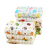 Moms Home Baby Super Soft Absorbent Muslin 6 Layer Face Wipes/wash Clothes- 30X30 cm - (0-3 Years) - Pack of 5