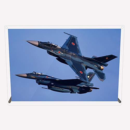 CuVery アクリル プレート 写真 航空自衛隊 戦闘機 第6飛行隊 F-2A 2機編隊 デザイン スタンド 壁掛け 両用 約A3サイズ