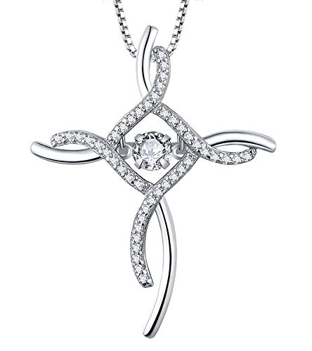 YL Celtic Knot Cross Necklace Sterling Silver Cubic Zirconia Loop Infinity Pendant Dancing Cubic Zirconia Crucifix Jewelry